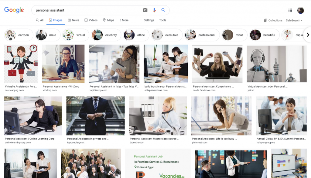 Images associated with personal assistants